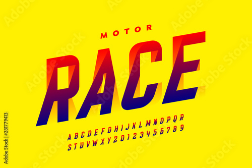 Speed style modern font, alphabet letters and numbers - Buy