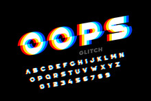 Glitch Style Font Design, Dist...