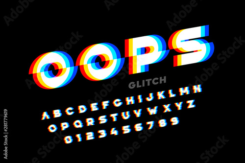 Fototapeta  Glitch style font design, distorted alphabet, letters and numbers