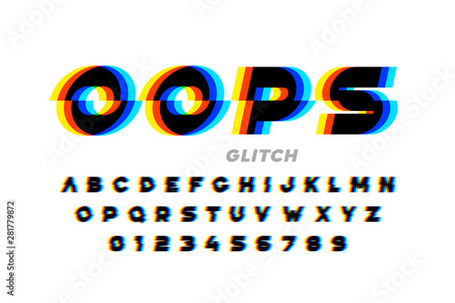 Fotografie, Obraz Glitch style font design, distorted alphabet, letters and numbers