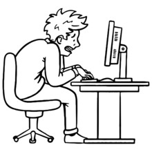Side View Of A Stressed Dog Terrified Office Worker Frantically Typing Something On The Computer Keyboard.  Giving Off Stress, Character, Illustration, Doodle.