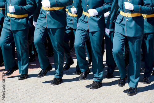 Cuadros en Lienzo  Officers of the Russian army marching. Military conceptual view.