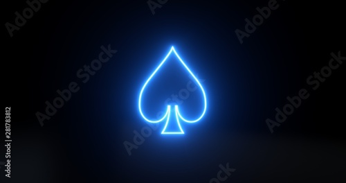 Aces Playing Cards Symbol - Spades With Futuristic Blue Glowing Neon Lights Isol Canvas Print