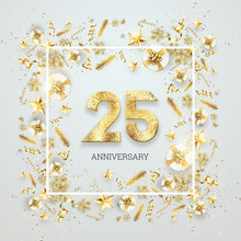 Creative Background, 25th Anniversary. Celebration Of Golden Text And Confetti On A Light Background With Numbers, Frame. Anniversary Celebration Template, Flyer. 3D Illustration, 3D Render