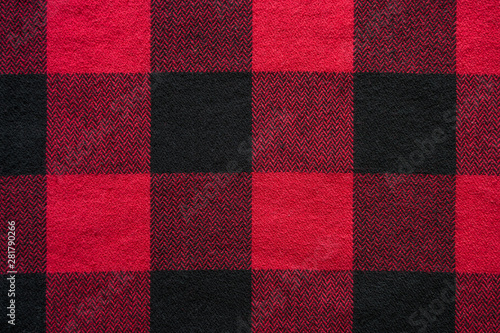 Spoed Foto op Canvas Buffel Black and Red Fabric in a Cage. Plaid material. Clothes background