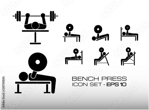 Magnificent Set Of Bench Press Workout Icon Vector Illustration Consist Ibusinesslaw Wood Chair Design Ideas Ibusinesslaworg