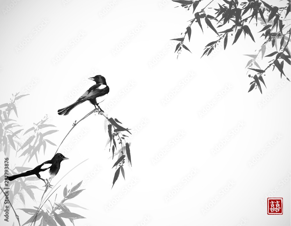 Fototapeta Bamboo trees and two magpies birds. Traditional oriental ink painting sumi-e, u-sin, go-hua. Hieroglyph - double luck.