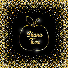 Luxury Festive Jewish New Year Rosh Hashanah Background With Golden Sparkles And Glittering Effect And Lettering