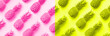 canvas print picture - Fresh pineapples on trendy neon pink and yellow color background. Top View. Pop art design, creative concept. Copy Space. Bright pineapple pattern for minimal style.