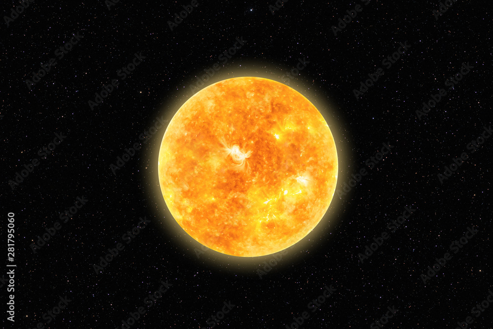 Fototapety, obrazy: Bright Sun against dark starry sky in Solar System, elements of this image furnished by NASA