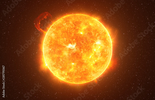 Fototapeta Bright Sun against dark starry sky in Solar System, elements of this image furnished by NASA obraz