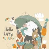 Fototapeta Fototapety na ścianę do pokoju dziecięcego - Funny animals read books under umbrella. Autumn time