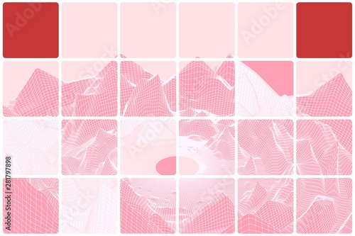 Poster Rose clair / pale Grid mountain landscape tiled pink abstraction with red inserts