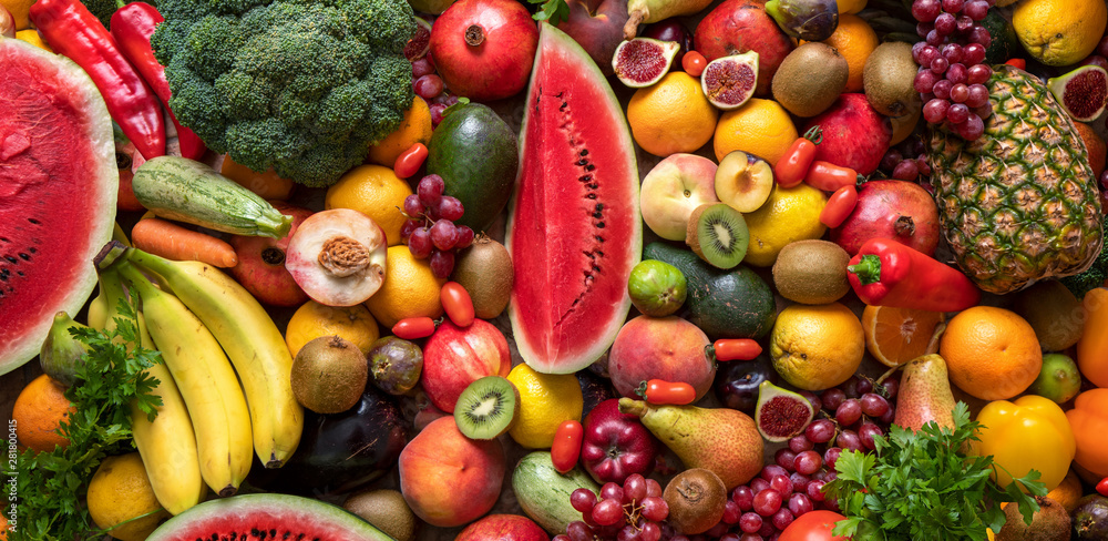 Fototapety, obrazy: Assortment of fresh fruits and vegetables