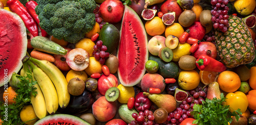 Cuadros en Lienzo  Assortment of fresh fruits and vegetables