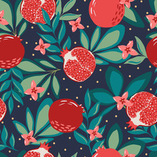 Hand Drawn Summer Tropical Background With Pomegranate Fruits And Branches For Fabric And Wallpaper Design. Repeated Seamless Pattern With Fruits