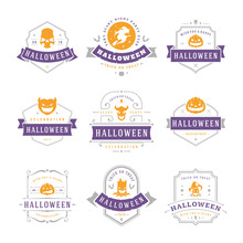 Happy Halloween Labels And Badges Design Set Vintage Typography Templates For Greeting Cards Banners Vector Illustration
