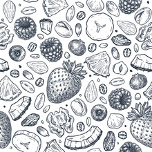 Granola Seamless Pattern. Engraved Style Illustration. Various Berries, Fruits And Nuts. Vector Illustration