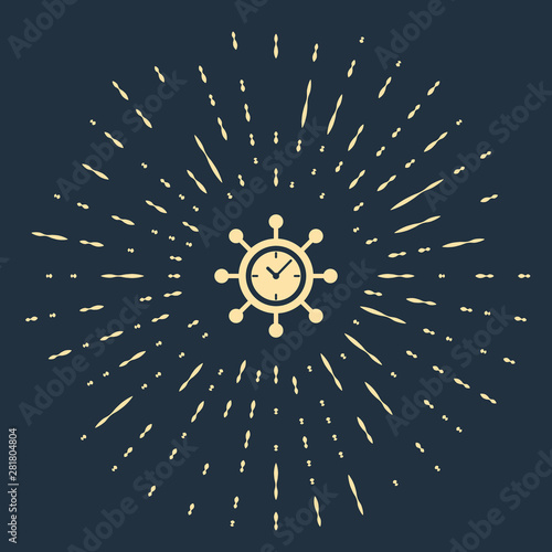 Beige Clock and gear icon isolated on dark blue background