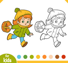 Coloring Book, Cartoon Little Girl With A Basket For Mushrooms