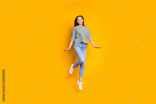 Fototapety, obrazy: Full length body size photo of nice kind girlfriend feeling like child while isolated with yellow background