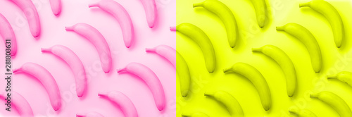 Tuinposter Pop Art Chaotic colorful fruit pattern. Bananas over neon pink and yellow color background. Banner. Top view. Pop art design, creative summer concept. Minimal flat lay style.