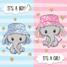 Greeting Card With Cute Elephant Boy And Girl