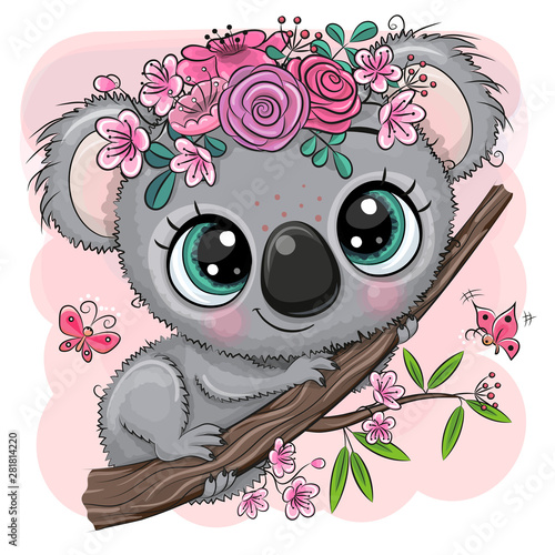 Koala with flowers on a tree on a pink background © reginast777