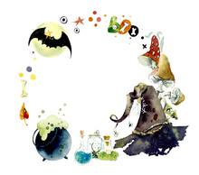 Watercolor Frames Of Halloween Elements. Bright Hand-drawn Elements, Mushroom, Spider, Poison, Pumpkin