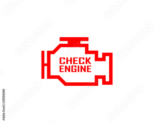 Cuadros en Lienzo  Check engine isolated icon on a white background.