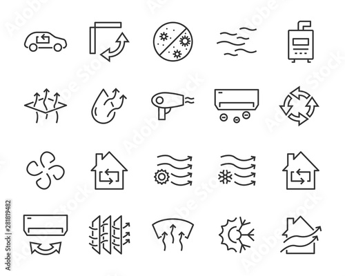 Photo  set of air icons, air condition, heater, dust, temperature, purify