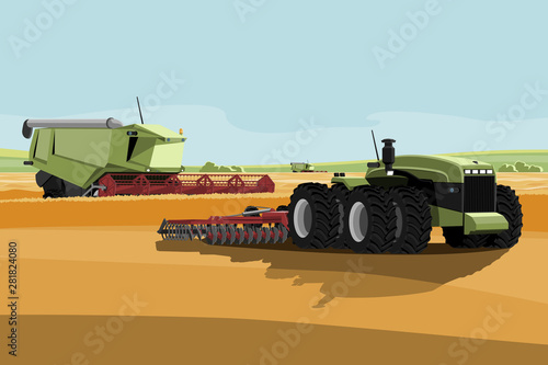 Aufkleber - Autonomous harvester and tractor on a smart farm. Digital transformation in agriculture. Vector illustration