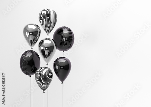 Set of black and silver foil balloons with empty space for text Canvas Print