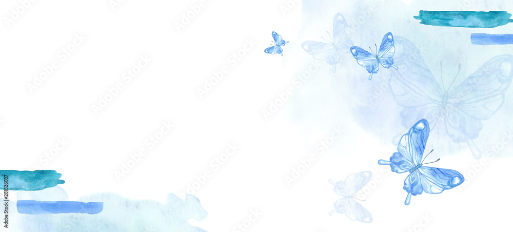 Fototapeta Beautiful sketch flyer with colorful watercolour. Watercolor illustration. Blue butterfly