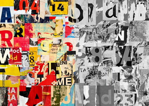 Collage of many numbers and letters ripped torn advertisement street posters gru Fototapet