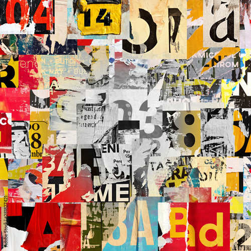 Fotografie, Obraz  Collage of many numbers and letters ripped torn advertisement street posters gru