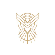 Owl Line Vector Icon Logo Design