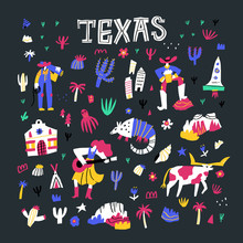 Texas Comic Flat Hand Drawn Vector Illustrations Set. Wild West Cartoon Attributes Isolated On Dark Background. Western American Culture. Cactuses, Cowboy, Animals, Country Doodle Drawings Pack