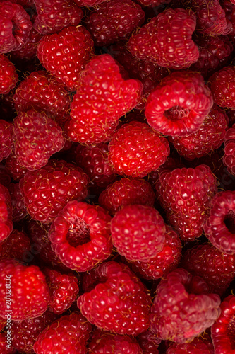 Canvas Prints Fruits Bunch of fresh raspberries close up