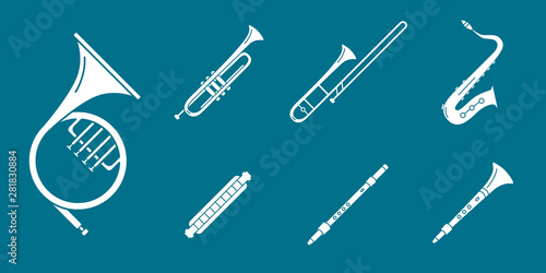 Music instruments Icons set - Vector solid silhouettes of wind instruments, s...