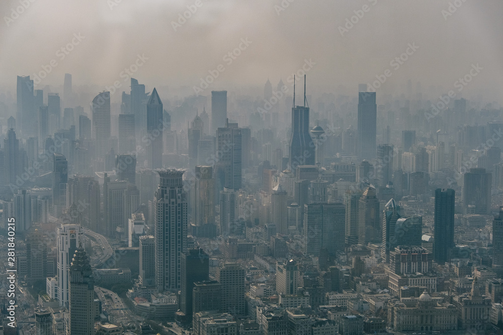 Fototapety, obrazy: Aerial View of Shanghai Showing its Pollution
