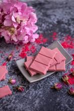 Ruby Chocolate On A Grey Backg...