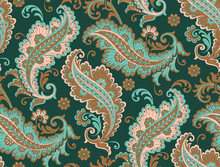 Seamlessly Repeating, Teal, Green, Beige Paisley Pattern