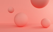Abstract Coral Background With Balloons. 3d Rendering