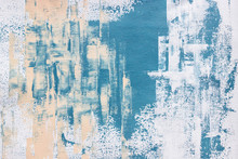Abstract Textured Blue Acrylic Painting On Canvas