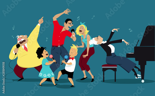 Fotografie, Obraz Three generation family singing karaoke together, EPS 8 vector illustration
