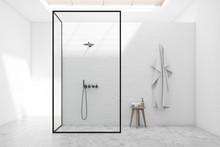 White Bathroom Interior With S...