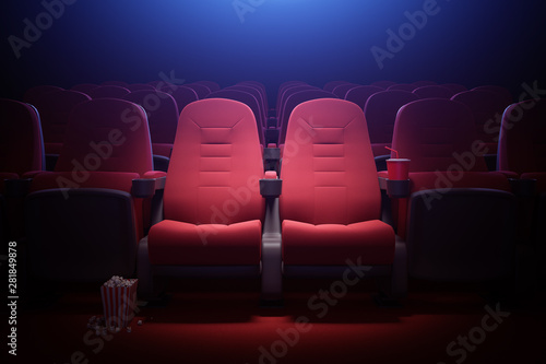 Fotomural  Interior of empty movie theater with red seats
