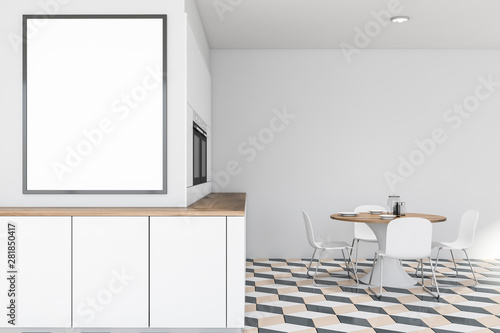 Canvas Prints Height scale White kitchen interior with table and poster
