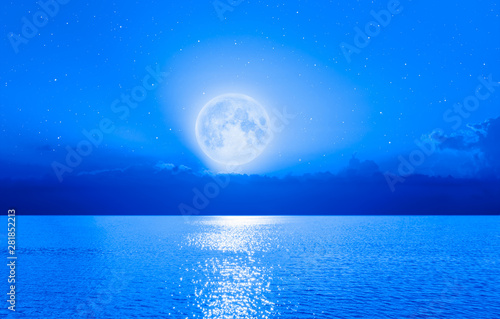 Fototapety, obrazy: Moon over the sea with lot of stars and nebula at night
